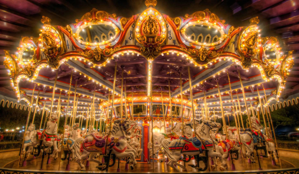 carousel and merry go round amusement park ride